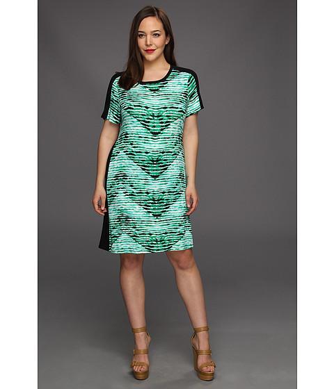 Rochii Calvin Klein - Plus Size T-Shirt Dress - Emerald/Nile Multi