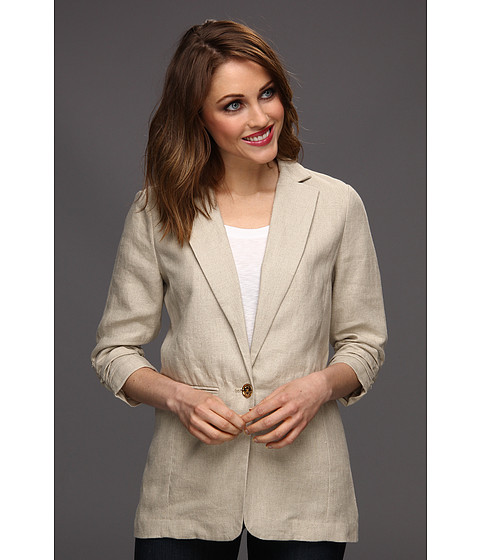 Jachete Michael Kors - Petite Linen Shirred BF Jacket - Hemp
