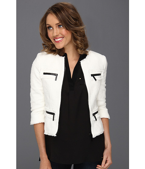Jachete Michael Kors - Petite Tweed Fray Zip Jacket - White