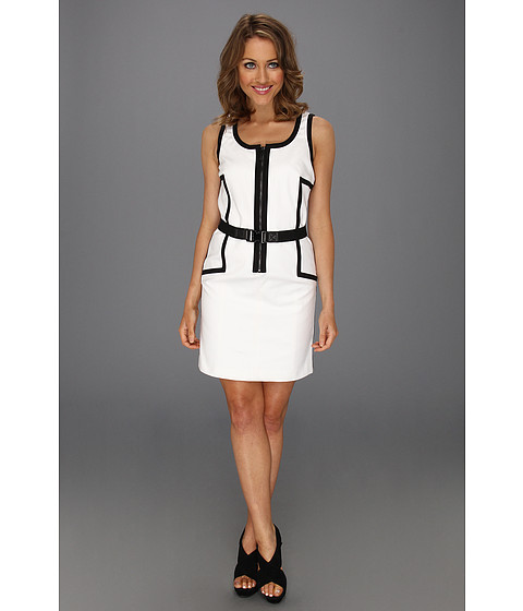 Rochii Michael Kors - Petite Stripe Contrast A-Line Dress - White