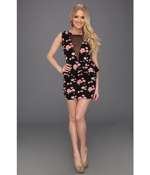 Rochii Type Z - Ambur Floral Peplum Dress - Black