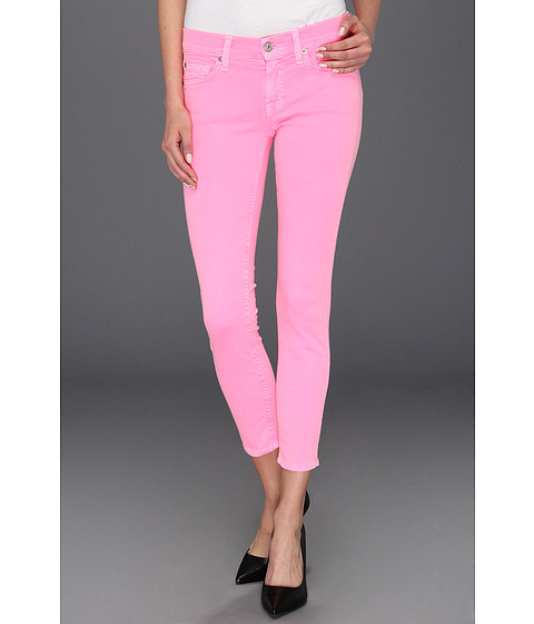 Blugi 7 For All Mankind - The Crop Skinny Neon - Hot Neon Pink
