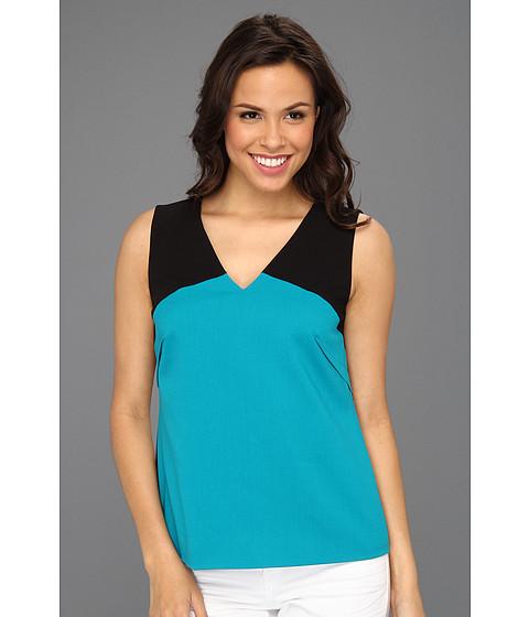 Tricouri Calvin Klein - V-Neck Color Block Blouse - Black/Lagoon