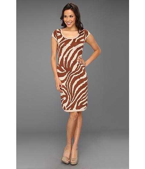 Rochii Anne Klein New York - Animal Intarsia Scoop Neck Dress - Pottery Multi