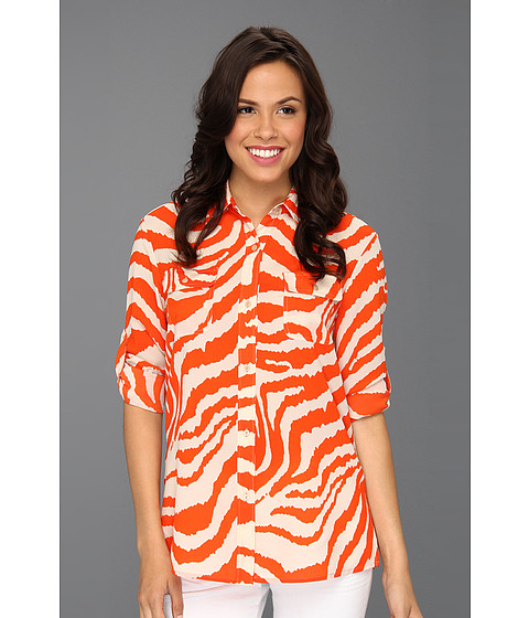 Bluze Anne Klein New York - Animal Stripe Roll Sleeve Shirt - Carnelian