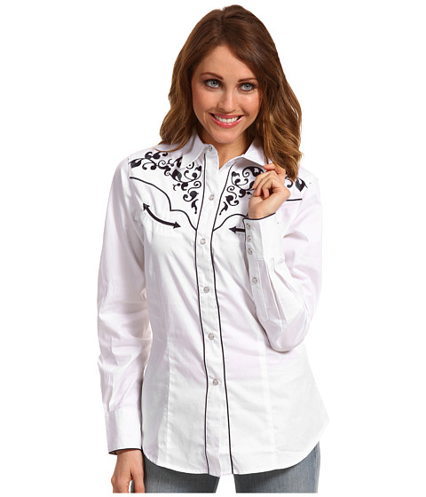 Bluze Roper - Old West Collection Vine Embroidered Blouse - White