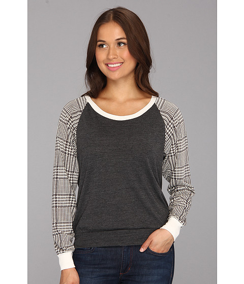 Bluze Alternative Apparel - Printed Slouchy Pullover - Hound Plaid
