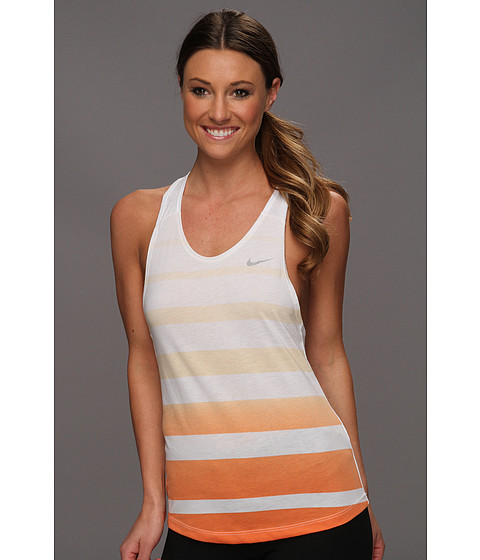 Tricouri Nike - Dri-Fit Cotton Stripe Tank - White/Grey Heather/Matte Silver