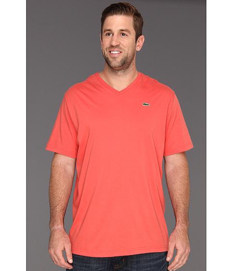 Tricouri Lacoste - Big S/S Jersey V-Neck T-Shirt - Guava
