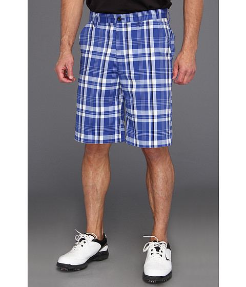 Pantaloni IZOD - IZOD Perform X Golf Short Flat Front Plaid - Surf Web Blue