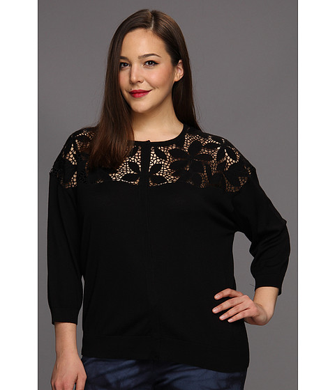 Bluze DKNY - Plus Size 3/4 Sleeve Cardigan w/ Eyelet Lace - Black
