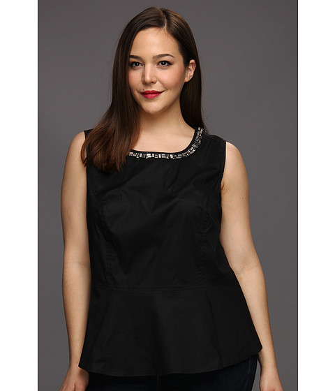 Tricouri DKNY - Plus Size Sleeveless Peplum Top w/ Embellishment - Black