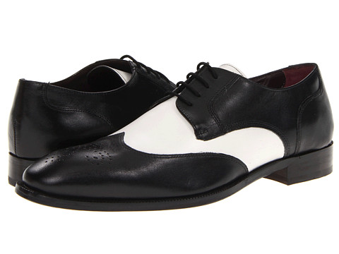 Pantofi Johnston & Murphy - Carlock Two-Tone Wing Tip - Black/White Italian Calfskin