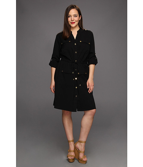 Rochii Calvin Klein - Plus Size Safari Shirt Dress - Black