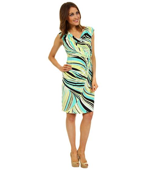 Rochii Calvin Klein - Swirl Twist Front Dress - Key Lime/Refresh Multi