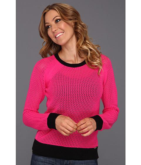 Bluze Michael Kors - Mesh Longsleeve Colorblocked Sweater - Neon Pink