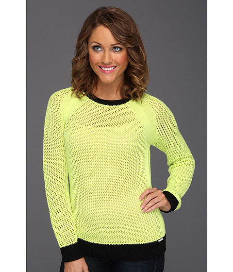 Bluze Michael Kors - Mesh Longsleeve Colorblocked Sweater - Cdmium Yellow