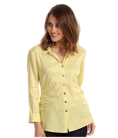 Camasi NIC+ZOE - Fresh Side Ruched Shirt Jacket - Lemongrass