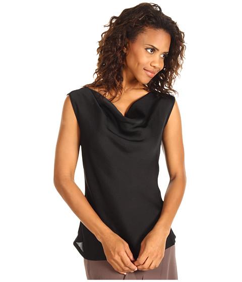 Bluze NIC+ZOE - Knit Woven Drape Layer Top - Black Onyx