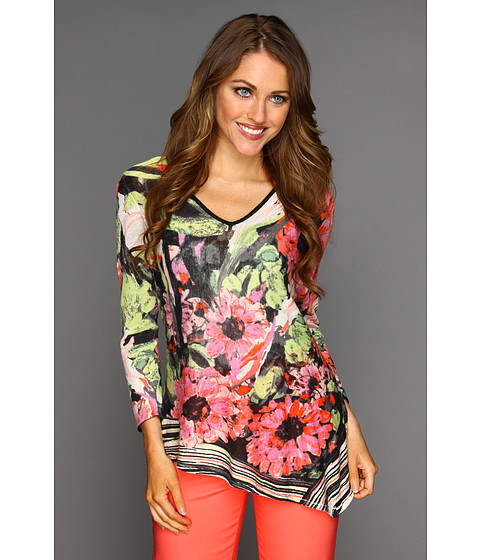 Bluze NIC+ZOE - Peek-A-Boo Striped Petals Top - Multi