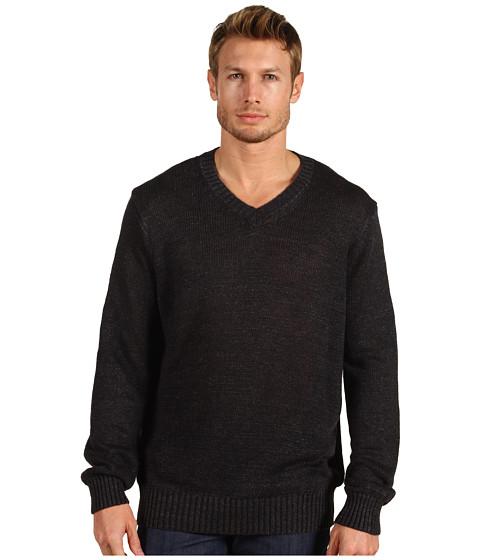 Pulovere Vince - Long Sleeve V-Neck Linen Sweater - Black