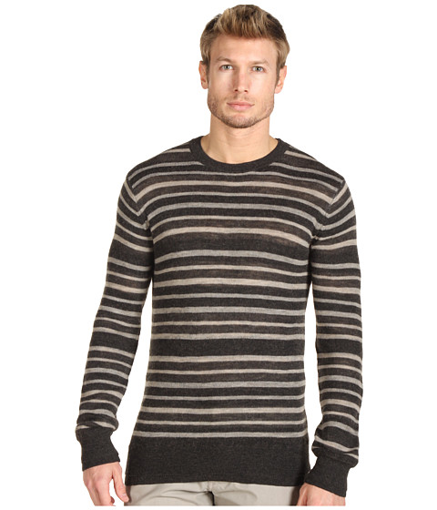 Pulovere Vince - Striped Crew Neck Sweater - Charcoal/Heather Wheat