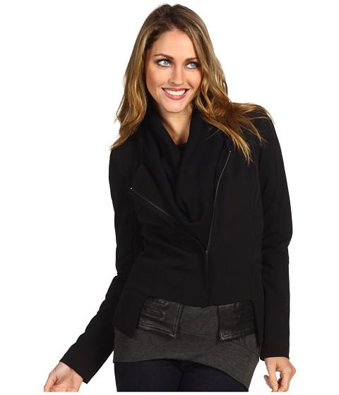 Jachete Miha - Cowl Blazer w/ Leather Combo - Black