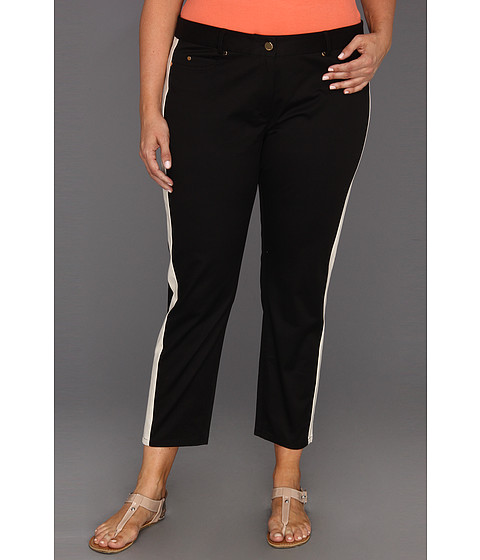 Pantaloni DKNY - Plus Size Skinny Ankle 5 Pocket Jean w/ Contrast Side Panels - Black/Stone
