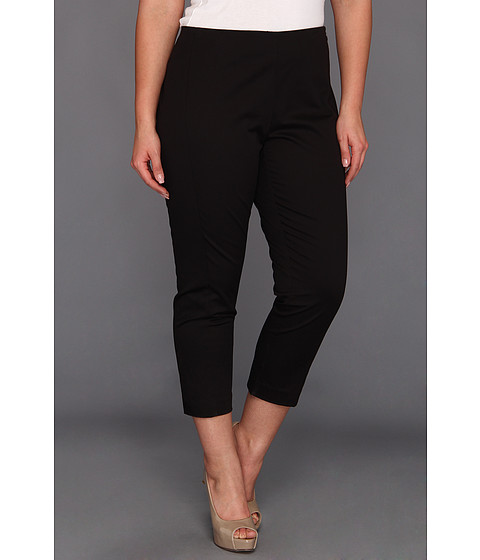 Pantaloni DKNY - Plus Size Skinny Cropped Flat Front Pant w/ Contrast Side Panel - Black/Black