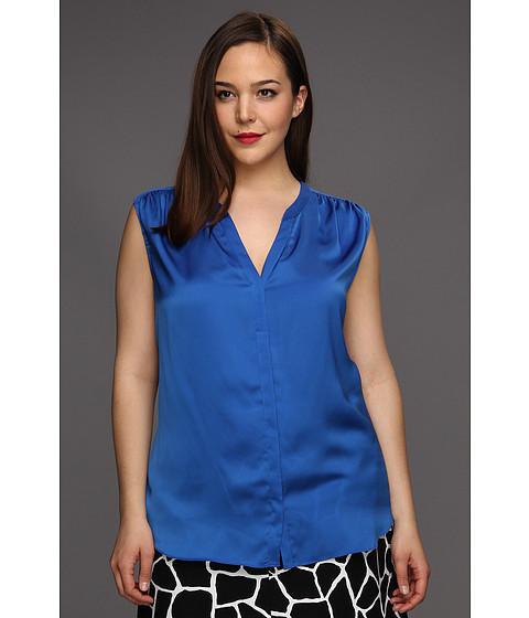 Tricouri DKNY - Plus Size Sleeveless V-Neck Button Thru Shirt - Deep Cobal