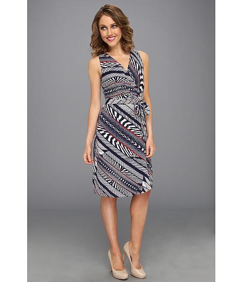 Rochii Anne Klein New York - Petite Bias Stripe Print Dress - New Marine Multi