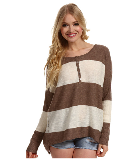 Bluze Free People - Gold Rush Henley - Taupe/Ivory Combo