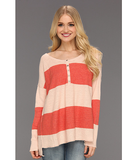 Bluze Free People - Gold Rush Henley - Coral/Ballet Combo
