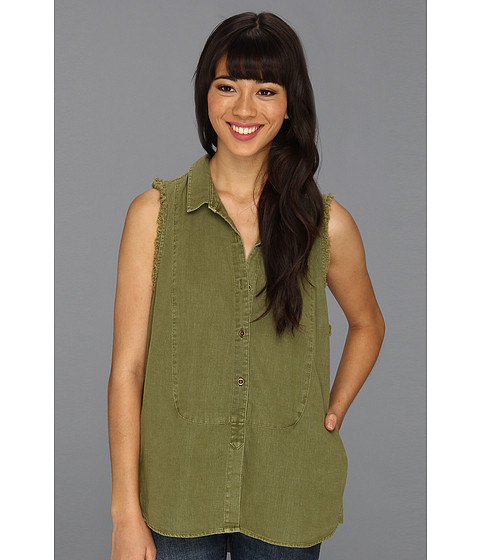 Tricouri Free People - Sleeveless Linen Shirt - Olive