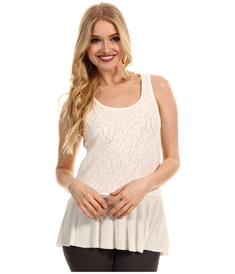 Bluze Free People - Rally Perforated Peplum Top - Magnolia