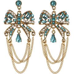 Bijuterii Betsey Johnson Heart and Bow Blue Bow Swag Earrings Blue | mycloset.ro
