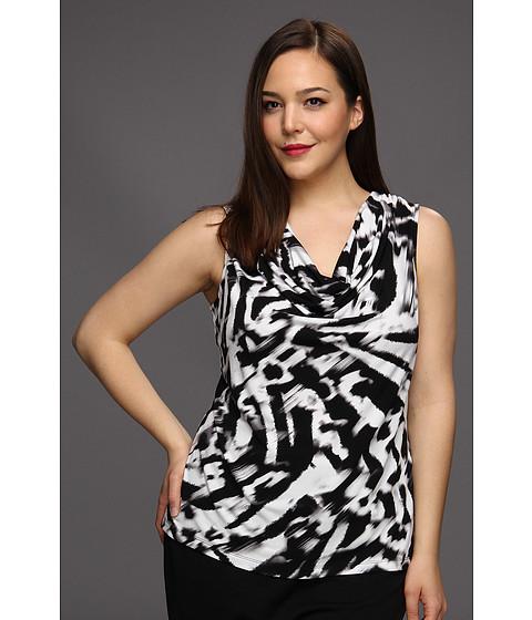 Tricouri Calvin Klein - Plus Size Printed Cowl Neck Top - Black/True White Combo