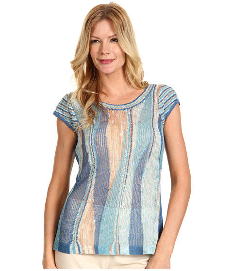 Bluze NIC+ZOE - Sand + Sea Wave Stitch Top - Multi