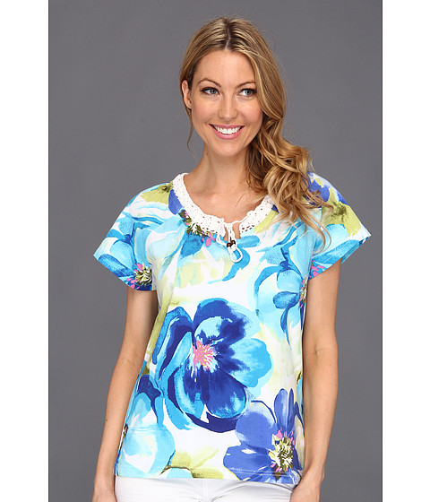 Bluze Caribbean Joe - Beauty Bloom Cap Sleeve w/Crochet Detail - Deep Marine