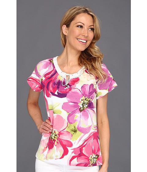 Bluze Caribbean Joe - Beauty Bloom Cap Sleeve w/Crochet Detail - Pink Ginger