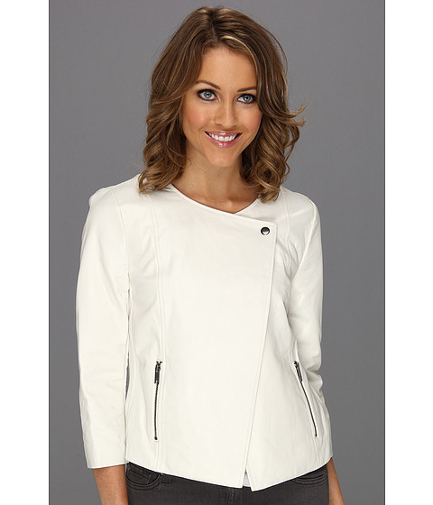Sacouri DKNY - 3/4 Sleeve Motorcycle Jacket -  Ivory