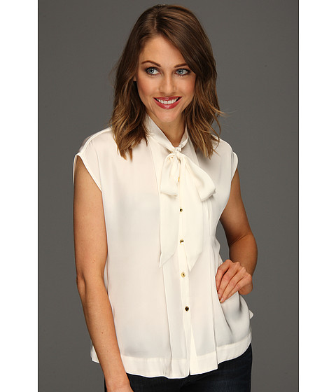 Bluze Vince Camuto - Tie Neck Button Down Blouse - New Ivory