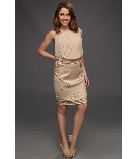 Rochii Vince Camuto - Chiffon Pleated Dress W/Satin Skirt - Khaki