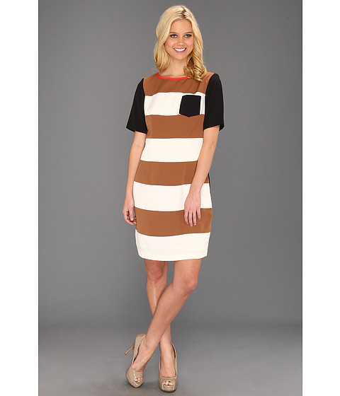 Rochii Jessica Howard - Framed Neck Colorblock Shift - Tan/Ivory