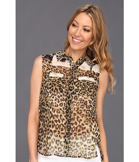 Bluze Kenneth Cole - Krissy Leopard Print Collared Sleeveless Blouse - Walnut