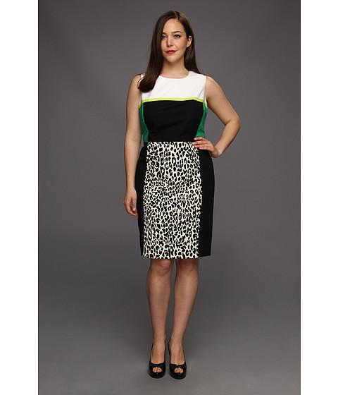 Rochii Calvin Klein - Plus Size Combo Print Shift Dress - Black/True White Combo