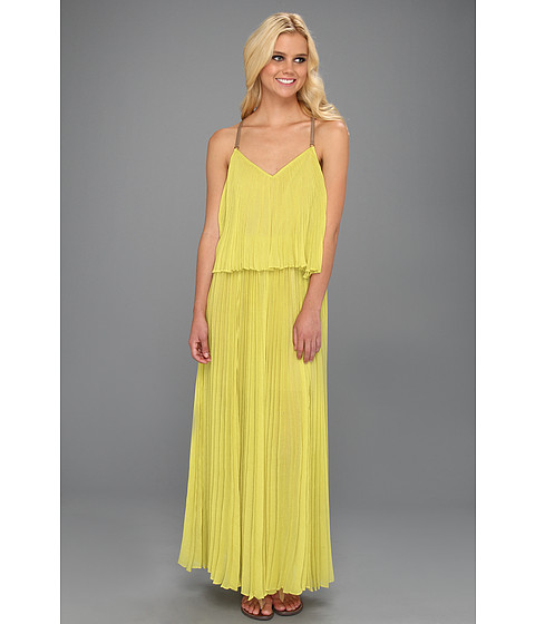 Rochii BCBGMAXAZRIA - Joelle Tiered Maxi Pleated Dress - Dark Lime