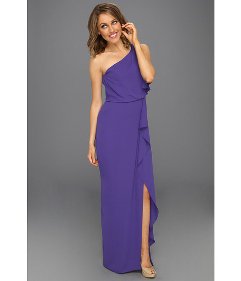 Rochii BCBGMAXAZRIA - Kendal One-Shoulder Ruffled Evening Gown - Persian Blue