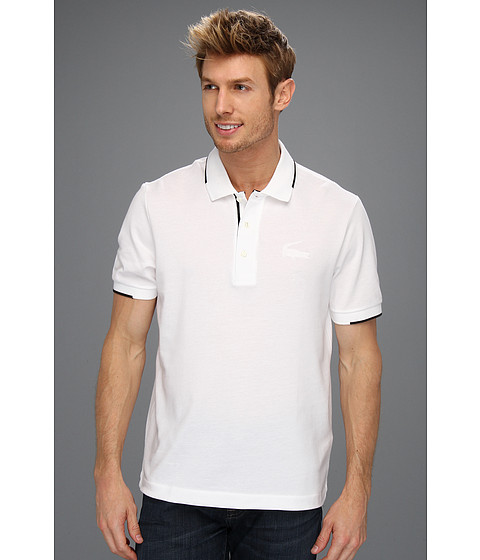 "Tricouri Lacoste - S/S ""Retro\"" Croc Semi Fancy Pique Polo - White/Black/White"