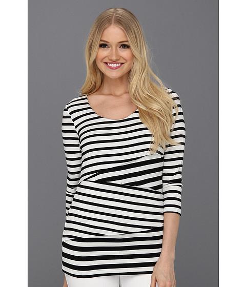 Tricouri Calvin Klein - Three Quarter Sleeve Stripe Top - Black Combo 2